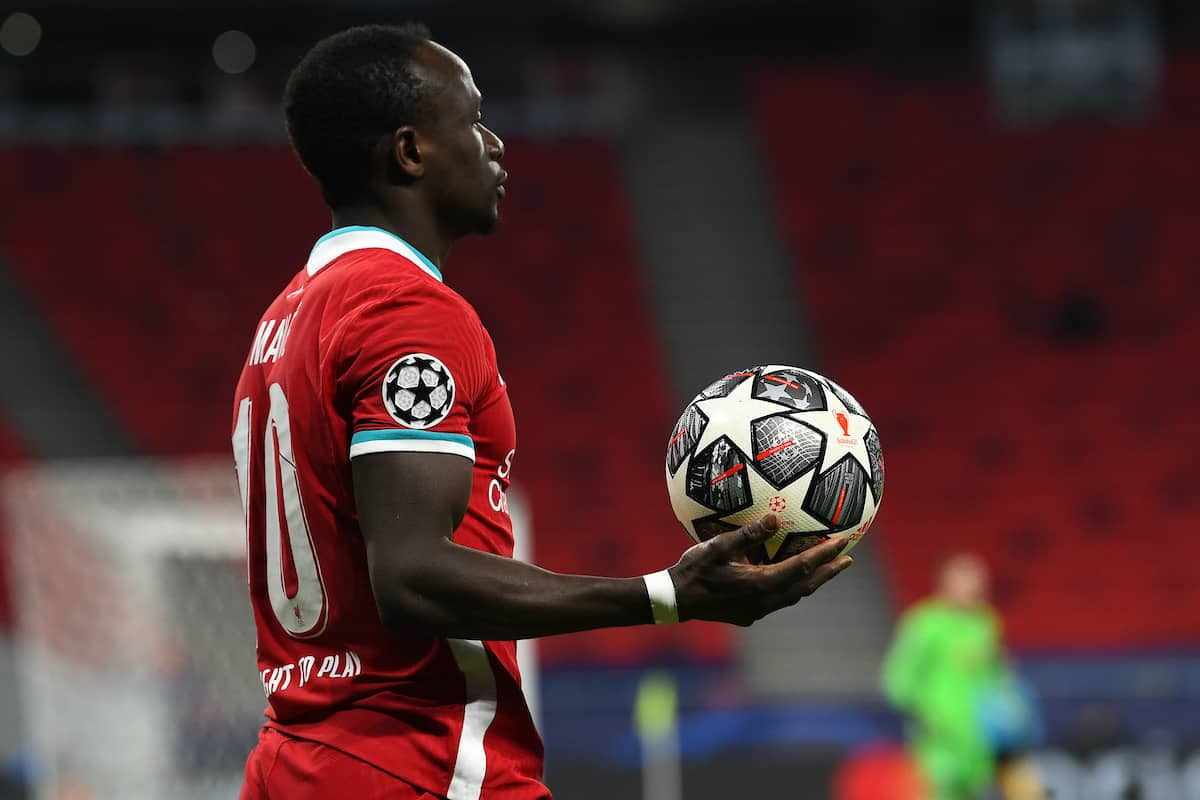 BUDAPEST, HUNGARY - Wednesday, March 10, 2021: Liverpool's Sadio Mané during the UEFA Champions League Round of 16 2nd Leg game between Liverpool FC and RB Leipzig at the Puskás Aréna. (Pic by Propaganda)