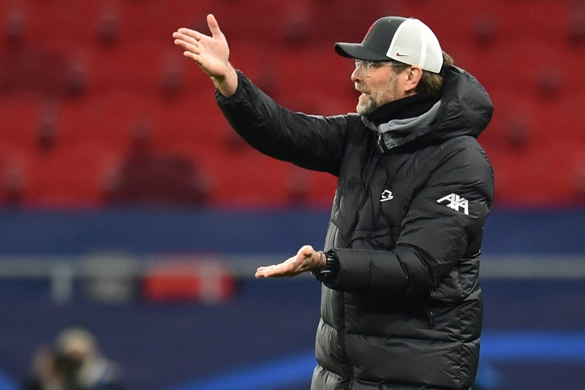 BUDAPEST, HUNGARY - Wednesday, March 10, 2021: Liverpool's manager Jürgen Klopp during the UEFA Champions League Round of 16 2nd Leg game between Liverpool FC and RB Leipzig at the Puskás Aréna. (Pic by Propaganda)