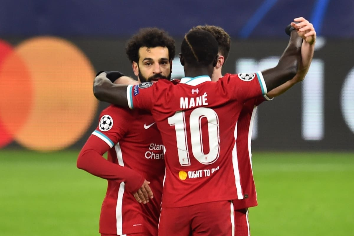 BUDAPEST, HUNGARY - Wednesday, March 10, 2021: Liverpool's Mohamed Salah (L) celebrates after scoring the first goal during the UEFA Champions League Round of 16 2nd Leg game between Liverpool FC and RB Leipzig at the Puskás Aréna. (Pic by Propaganda)