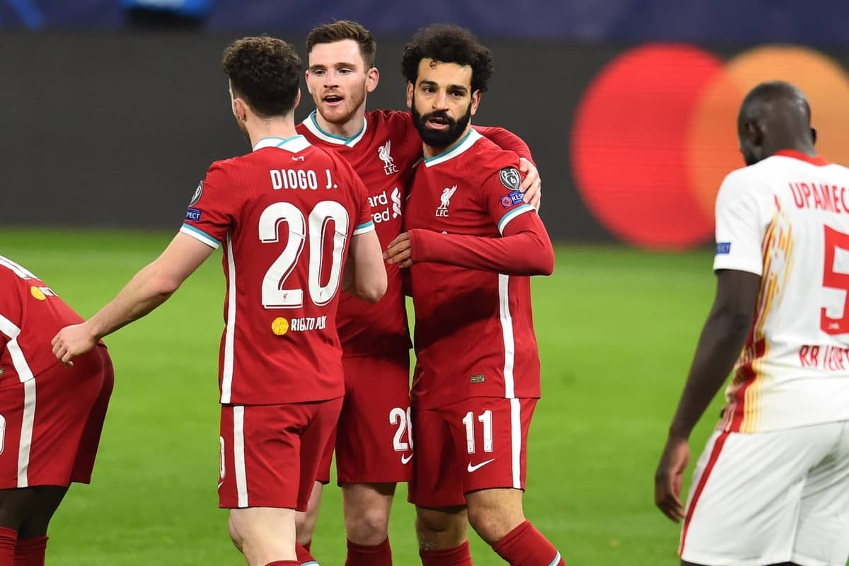 BUDAPEST, HUNGARY - Wednesday, March 10, 2021: Liverpool's Mohamed Salah (R) celebrates after scoring the first goal during the UEFA Champions League Round of 16 2nd Leg game between Liverpool FC and RB Leipzig at the Puskás Aréna. (Pic by Propaganda)