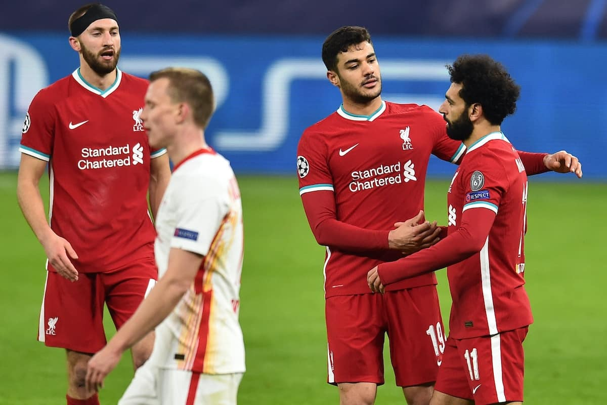 BUDAPEST, HUNGARY - Wednesday, March 10, 2021: Liverpool's Mohamed Salah (R) celebrates with team-mate Ozan Kabak after scoring the first goal during the UEFA Champions League Round of 16 2nd Leg game between Liverpool FC and RB Leipzig at the Puskás Aréna. (Pic by Propaganda)