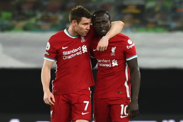 WOLVERHAMPTON, ENGLAND - Monday, March 15, 2021: Liverpool's James Milner (L) and Sadio Mané after the FA Premier League match between Wolverhampton Wanderers FC and Liverpool FC at Molineux Stadium. (Pic by Propaganda)