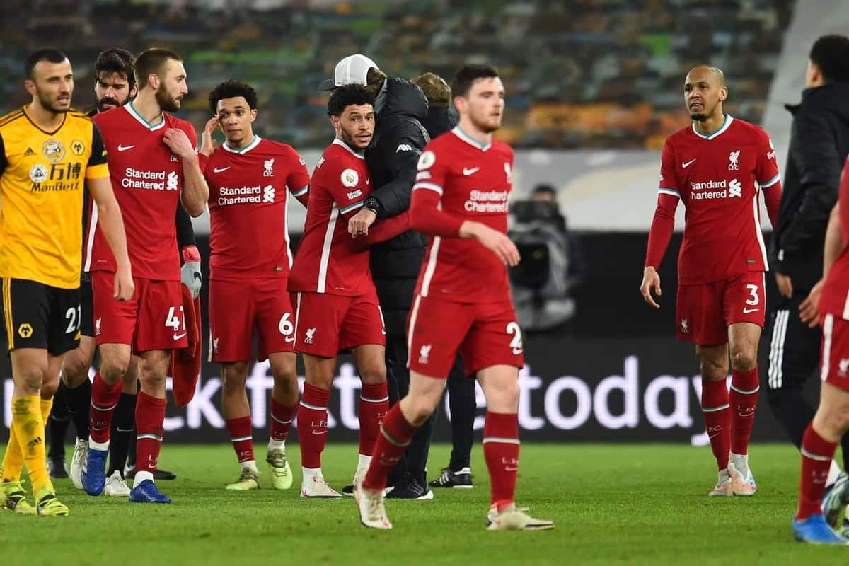 WOLVERHAMPTON, ENGLAND - Monday, March 15, 2021: Liverpool's Alex Oxlade-Chamberlain and team-mates after the FA Premier League match between Wolverhampton Wanderers FC and Liverpool FC at Molineux Stadium. (Pic by Propaganda)