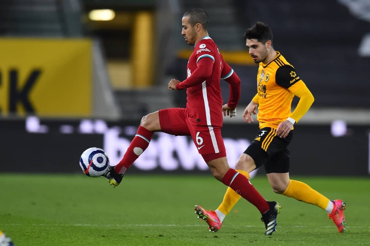 WOLVERHAMPTON, ENGLAND - Monday, March 15, 2021: Liverpool's Thiago Alcantara during the FA Premier League match between Wolverhampton Wanderers FC and Liverpool FC at Molineux Stadium. (Pic by Propaganda)