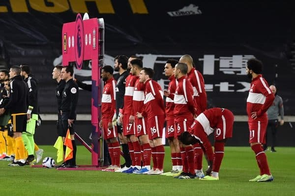 WOLVERHAMPTON, ENGLAND - Monday, March 15, 2021: Liverpool players line-up before the FA Premier League match between Wolverhampton Wanderers FC and Liverpool FC at Molineux Stadium. (Pic by Propaganda)