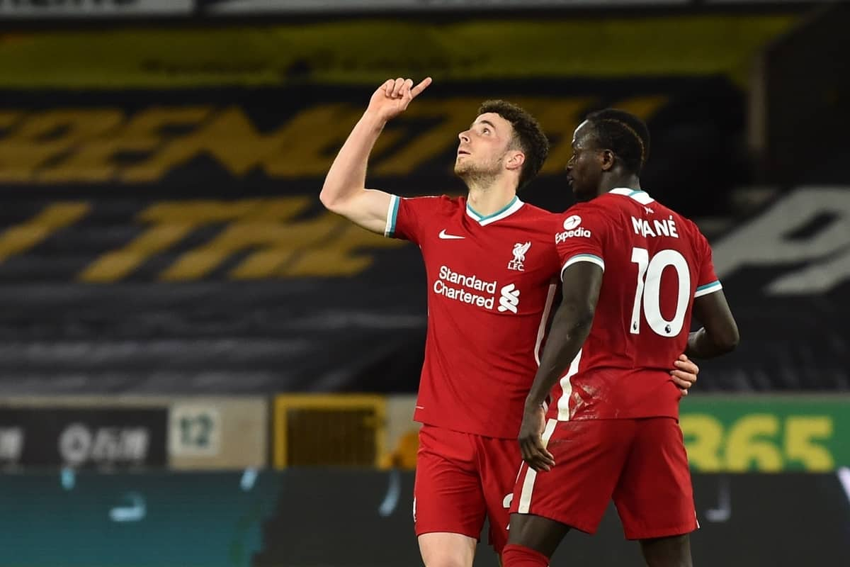 WOLVERHAMPTON, ENGLAND - Monday, March 15, 2021: Liverpool's Diogo Jota (L) celebrates with team-mate Sadio Mané after scoring the first goal during the FA Premier League match between Wolverhampton Wanderers FC and Liverpool FC at Molineux Stadium. (Pic by Propaganda)