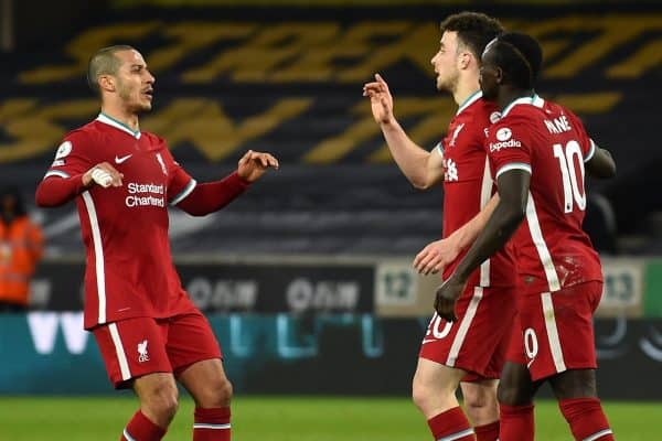 WOLVERHAMPTON, ENGLAND - Monday, March 15, 2021: Liverpool's Diogo Jota (C) celebrates with team-mates Thiago Alcantara (L) and Sadio Mané (R) after scoring the first goal during the FA Premier League match between Wolverhampton Wanderers FC and Liverpool FC at Molineux Stadium. (Pic by Propaganda)