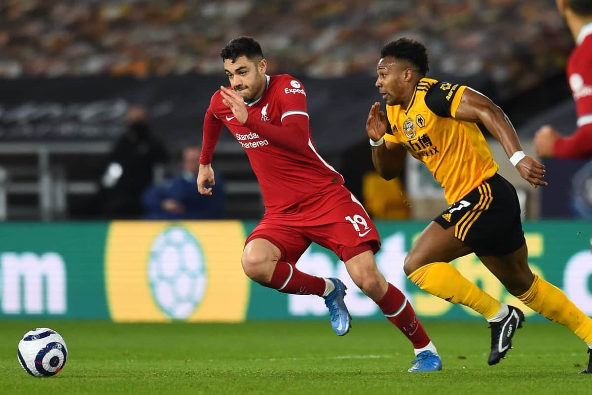 WOLVERHAMPTON, ENGLAND - Monday, March 15, 2021: Liverpool's Ozan Kabak (L) and Wolverhampton Wanderers' Adama Traoré during the FA Premier League match between Wolverhampton Wanderers FC and Liverpool FC at Molineux Stadium. (Pic by Propaganda)