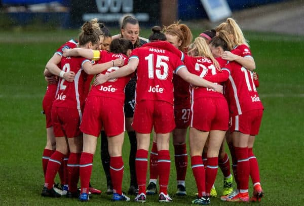 BIRKENHEAD, ENGLAND - Sunday, March 28, 2021: Liverpool players form a huddle before the FA Women's Championship game between Liverpool FC Women and Blackburn Rovers Ladies FC at Prenton Park. (Pic by David Rawcliffe/Propaganda)