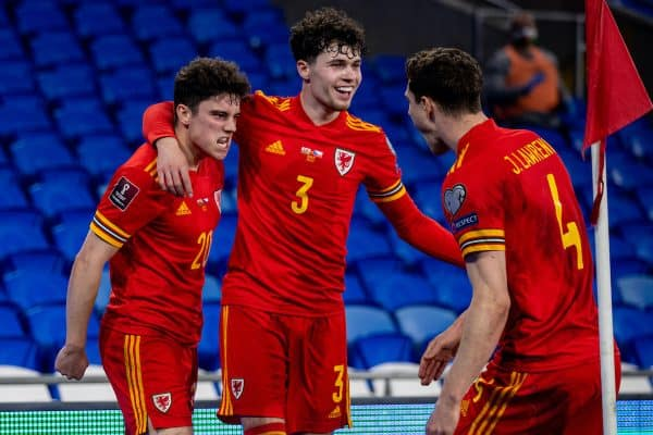 CARDIFF, WALES - Tuesday, March 30, 2021: Wales' Daniel James (L) celebrates with team-mates Neco Williams (C) and James Lawrence (R) after scoring the first goal during the FIFA World Cup Qatar 2022 Qualifying Group E game between Wales and Czech Republic at the Cardiff City Stadium. (Pic by David Rawcliffe/Propaganda)