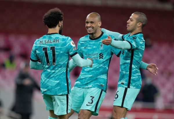 LONDON, ENGLAND - Saturday, April 3, 2021: Liverpool's Mohamed Salah (L) celebrates after scoring the second goal with team-mates Fabio Henrique Tavares 'Fabinho' (C) and Thiago Alcantara (R) during the FA Premier League match between Arsenal FC and Liverpool FC at the Emirates Stadium. (Pic by David Rawcliffe/Propaganda)
