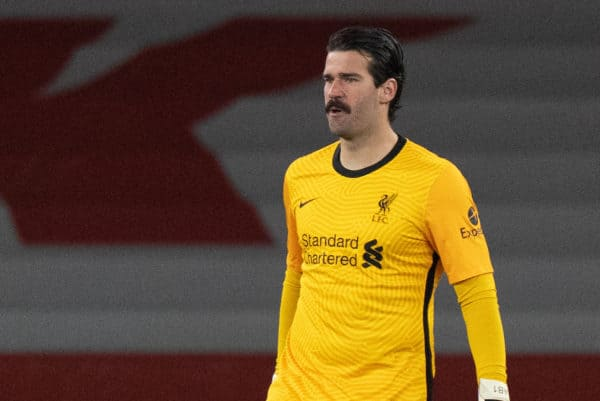 LONDON, ENGLAND - Saturday, April 3, 2021: Liverpool's goalkeeper Alisson Becker during the FA Premier League match between Arsenal FC and Liverpool FC at the Emirates Stadium. (Pic by David Rawcliffe/Propaganda)