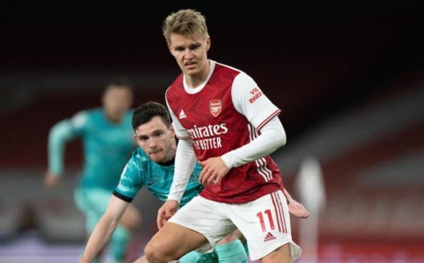 LONDON, ENGLAND - Saturday, April 3, 2021: Arsenal's Martin Ødegaard during the FA Premier League match between Arsenal FC and Liverpool FC at the Emirates Stadium. (Pic by David Rawcliffe/Propaganda)