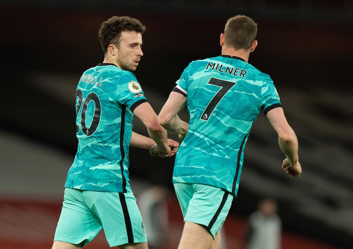 LONDON, ENGLAND - Saturday, April 3, 2021: Liverpool's Diogo Jota (L) celebrates after scoring the third goal during the FA Premier League match between Arsenal FC and Liverpool FC at the Emirates Stadium. (Pic by David Rawcliffe/Propaganda)