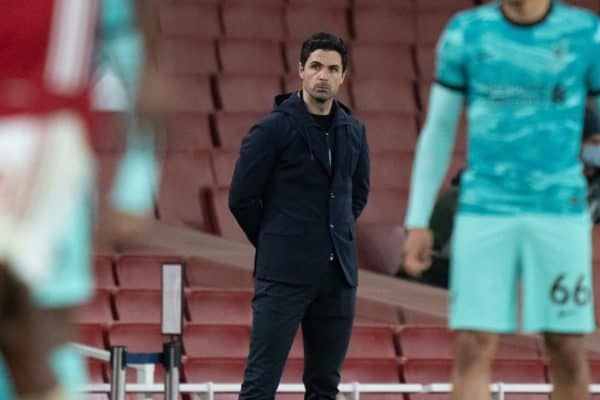 LONDON, ENGLAND - Saturday, April 3, 2021: Arsenal's manager Mikel Arteta during the FA Premier League match between Arsenal FC and Liverpool FC at the Emirates Stadium. (Pic by David Rawcliffe/Propaganda)