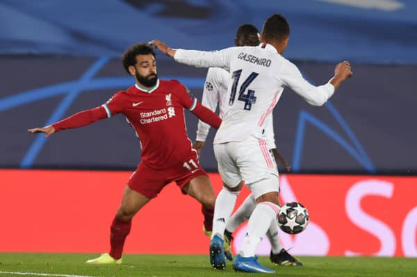 MADRID, SPAIN - Tuesday, April 6, 2021: Liverpool's Mohamed Salah during the UEFA Champions League Quarter-Final 1st Leg game between Real Madird CF and Liverpool FC at the Estadio Alfredo Di Stefano. (Pic by Propaganda)