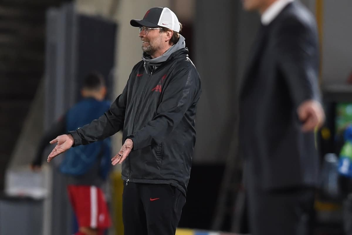 MADRID, SPAIN - Tuesday, April 6, 2021: Liverpool's manager Jürgen Klopp during the UEFA Champions League Quarter-Final 1st Leg game between Real Madird CF and Liverpool FC at the Estadio Alfredo Di Stefano. (Pic by Propaganda)