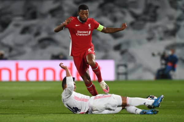 MADRID, SPAIN - Tuesday, April 6, 2021: Liverpool's Georginio Wijnaldum during the UEFA Champions League Quarter-Final 1st Leg game between Real Madird CF and Liverpool FC at the Estadio Alfredo Di Stefano. (Pic by Propaganda)