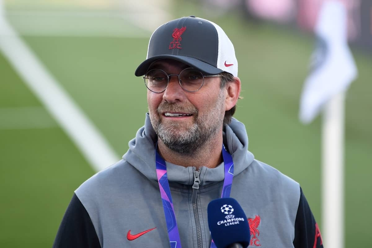 MADRID, SPAIN - Tuesday, April 6, 2021: Liverpool's manager Jürgen Klopp gives an interview before the UEFA Champions League Quarter-Final 1st Leg game between Real Madird CF and Liverpool FC at the Estadio Alfredo Di Stefano. (Pic by Propaganda)