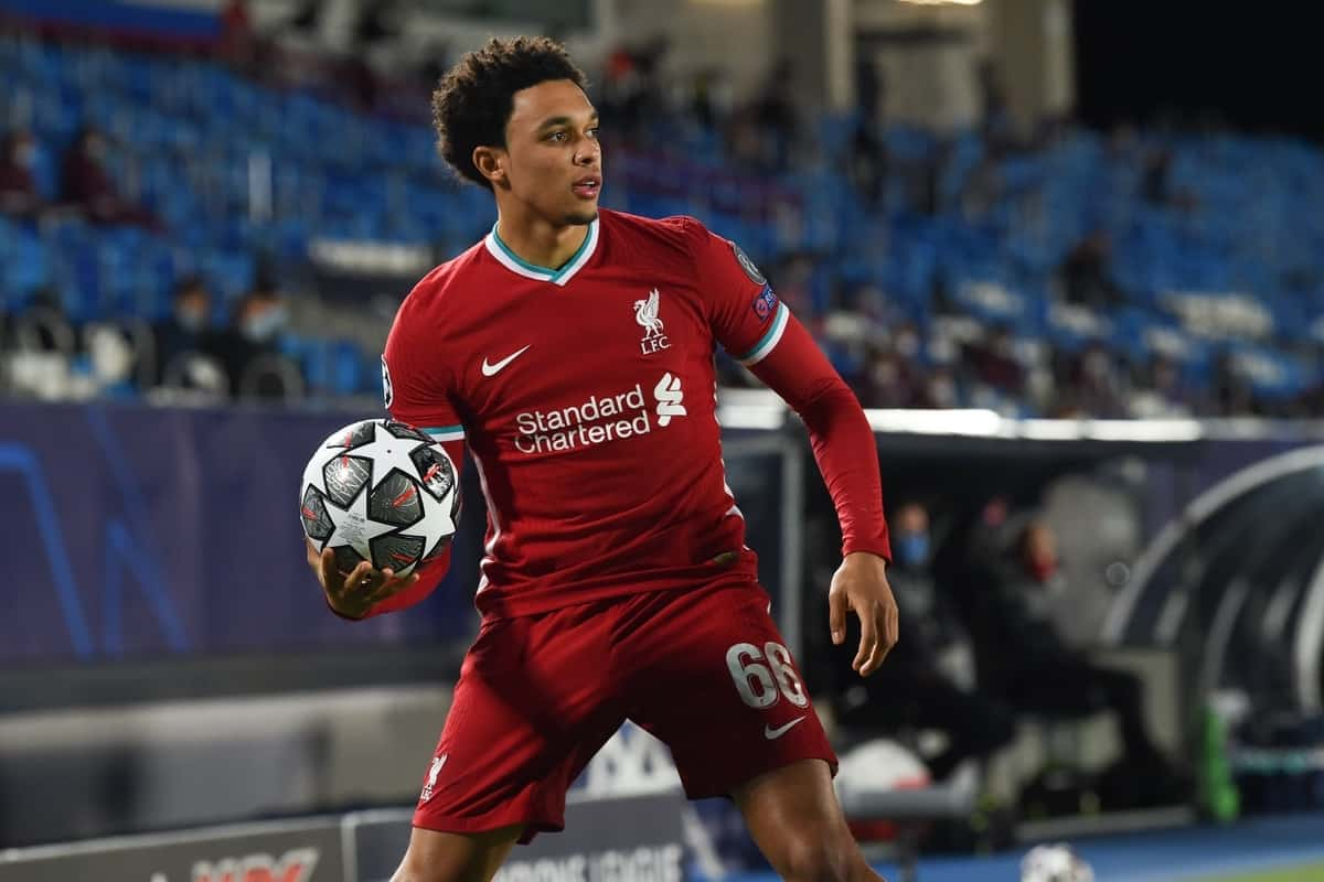MADRID, SPAIN - Tuesday, April 6, 2021: Liverpool's Trent Alexander-Arnold prepares to take a throw-in during the UEFA Champions League Quarter-Final 1st Leg game between Real Madird CF and Liverpool FC at the Estadio Alfredo Di Stefano. (Pic by Propaganda)