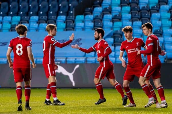 MANCHESTER, ENGLAND - Friday, April 9, 2021: Liverpool's Joe Hardy (C) celebrates after scoring the second goal to equalise the score at 2-2 during the Premier League 2 Division 1 match between Manchester City FC Under-23's and Liverpool FC Under-23's at the Academy Stadium. (Pic by Jon Super/Propaganda)
