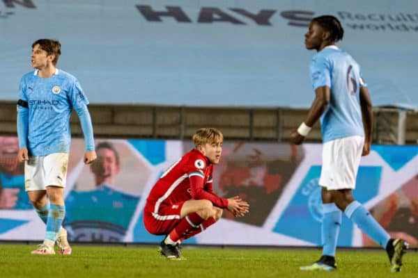 MANCHESTER, ENGLAND - Friday, April 9, 2021: Liverpool's Jake Cain looks dejected after Manchester City score a late winning goal during the Premier League 2 Division 1 match between Manchester City FC Under-23's and Liverpool FC Under-23's at the Academy Stadium. Manchester City won 3-2. (Pic by Jon Super/Propaganda)