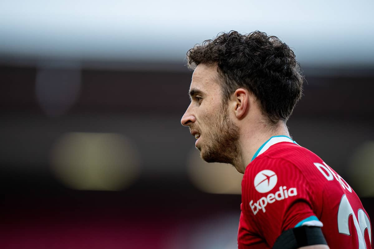 LIVERPOOL, ENGLAND - Saturday, April 10, 2021: Liverpool's Diogo Jota during the FA Premier League match between Liverpool FC and Aston Villa FC at Anfield. (Pic by David Rawcliffe/Propaganda)