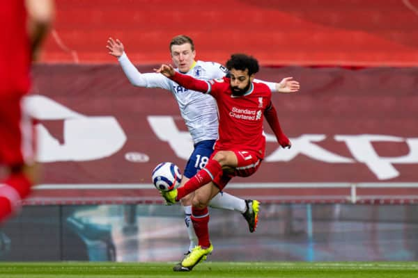 LIVERPOOL, ENGLAND - Saturday, April 10, 2021: Liverpool's Mohamed Salah (R) and Aston Villa's Matt Targett during the FA Premier League match between Liverpool FC and Aston Villa FC at Anfield. (Pic by David Rawcliffe/Propaganda)