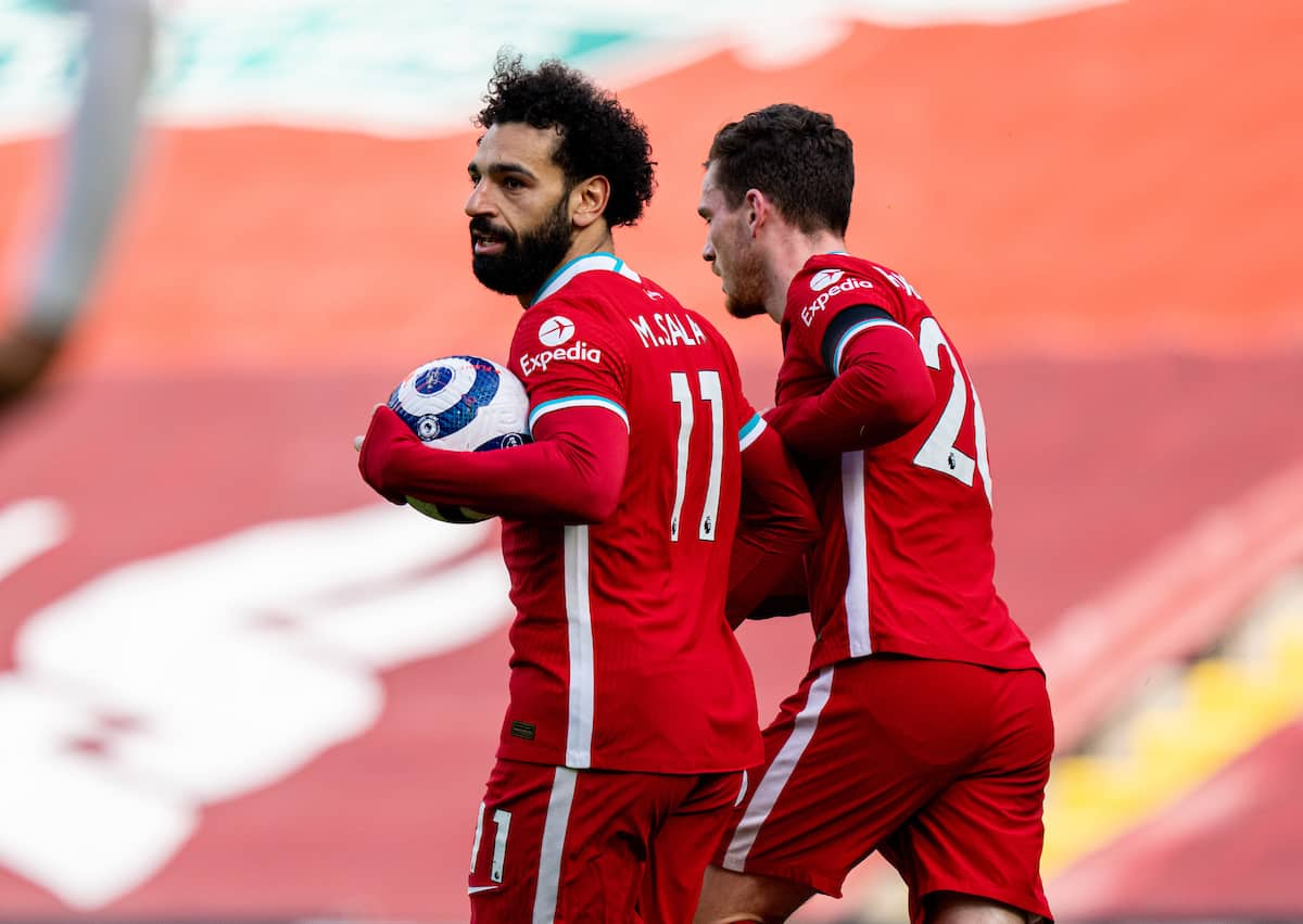 LIVERPOOL, ENGLAND - Saturday, April 10, 2021: Liverpool's Mohamed Salah celebrates after scoring the first equalising goal during the FA Premier League match between Liverpool FC and Aston Villa FC at Anfield. (Pic by David Rawcliffe/Propaganda)
