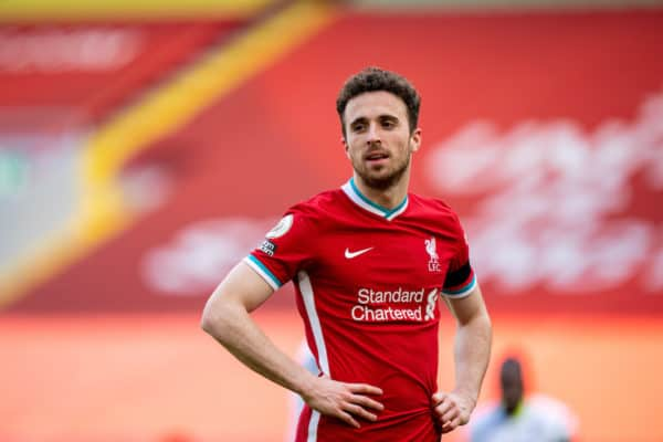 LIVERPOOL, ENGLAND - Saturday, April 10, 2021: Liverpool's Diogo Jota looks dejected after missing a chance during the FA Premier League match between Liverpool FC and Aston Villa FC at Anfield. (Pic by David Rawcliffe/Propaganda)