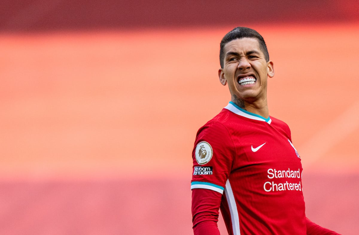 LIVERPOOL, ENGLAND - Saturday, April 10, 2021: Liverpool's Roberto Firmino looks dejected after missing a chance during the FA Premier League match between Liverpool FC and Aston Villa FC at Anfield. (Pic by David Rawcliffe/Propaganda)