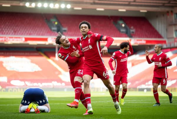 LIVERPOOL, ENGLAND - Saturday, April 10, 2021: Liverpool's Trent Alexander-Arnold (R) celebrates with team-mate Xherdan Shaqiri after scoring the second goal during the FA Premier League match between Liverpool FC and Aston Villa FC at Anfield. (Pic by David Rawcliffe/Propaganda)