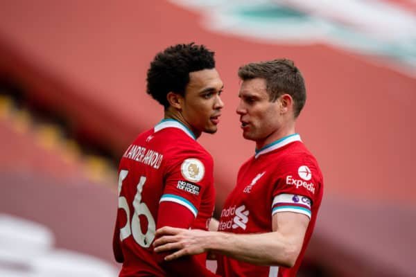 LIVERPOOL, ENGLAND - Saturday, April 10, 2021: Liverpool's Trent Alexander-Arnold (L) celebrates with team-mate James Milner after scoring the winning second goal during the FA Premier League match between Liverpool FC and Aston Villa FC at Anfield. (Pic by David Rawcliffe/Propaganda)