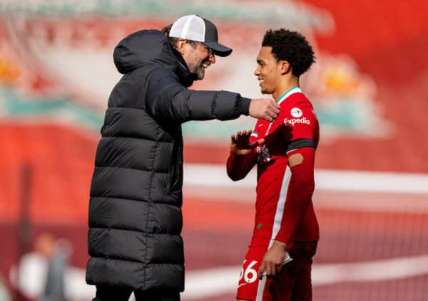 LIVERPOOL, ENGLAND - Saturday, April 10, 2021: Liverpool's manager Jürgen Klopp (L) with match-winning goal-scorer Trent Alexander-Arnold after the FA Premier League match between Liverpool FC and Aston Villa FC at Anfield. (Pic by David Rawcliffe/Propaganda)