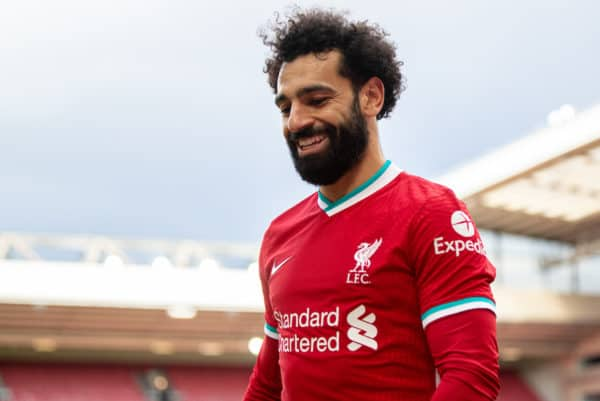 LIVERPOOL, ENGLAND - Saturday, April 10, 2021: Liverpool's goal-scorer Mohamed Salah during the FA Premier League match between Liverpool FC and Aston Villa FC at Anfield. (Pic by David Rawcliffe/Propaganda)