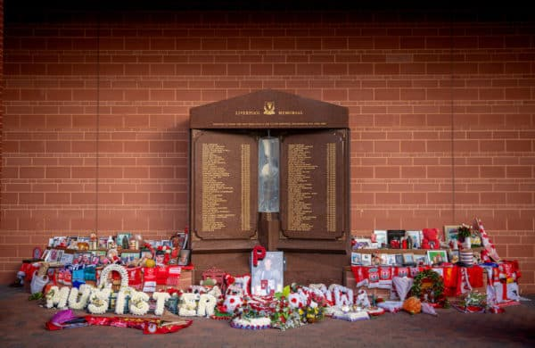 Floral tributes left at the eternal flame memorial for the 96 victims of the Hillsborough Disater pictured before the UEFA Champions League Quarter-Final 2nd Leg game between Liverpool FC and Real Madird CF at Anfield. (Pic by David Rawcliffe/Propaganda)