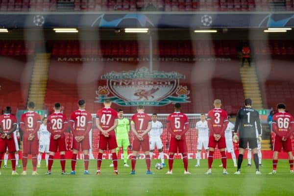 Liverpool and Real Madrid players stand for a moment's silence to remember the victims of the Hillsborough Stadium Disaster on the eve of the 32th anniversary before the UEFA Champions League Quarter-Final 2nd Leg game between Liverpool FC and Real Madird CF at Anfield. (Pic by David Rawcliffe/Propaganda)