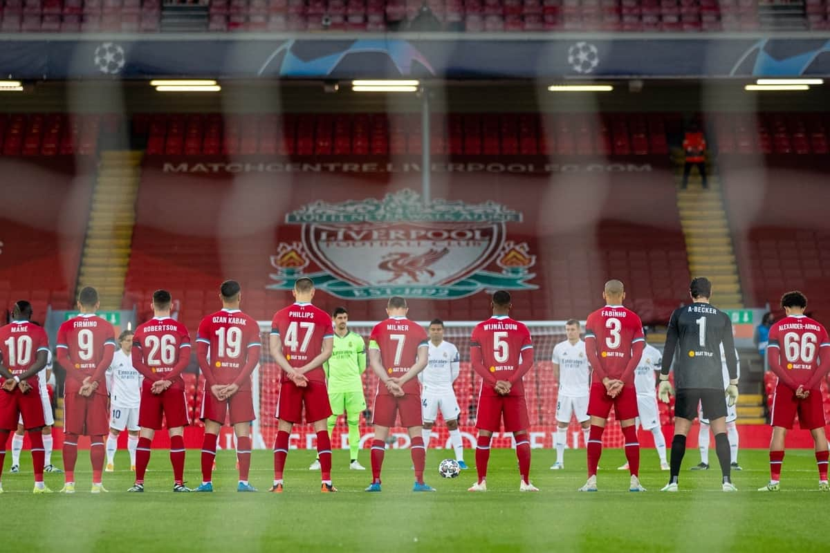 LIVERPOOL, ENGLAND - Wednesday, April 14, 2021: Liverpool and Real Madrid players stand for a moment's silence to remember the victims of the Hillsborough Stadium Disaster on the eve of the 32th anniversary before the UEFA Champions League Quarter-Final 2nd Leg game between Liverpool FC and Real Madird CF at Anfield. (Pic by David Rawcliffe/Propaganda)