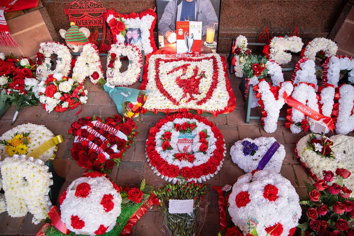 LIVERPOOL, ENGLAND - Wednesday, April 14, 2021: Floral tributes left at the eternal flame memorial for the 96 victims of the Hillsborough Disater pictured before the UEFA Champions League Quarter-Final 2nd Leg game between Liverpool FC and Real Madird CF at Anfield. (Pic by David Rawcliffe/Propaganda)
