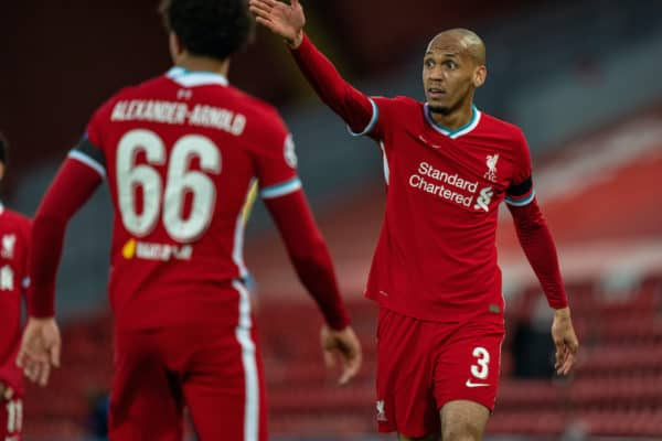 LIVERPOOL, ENGLAND - Wednesday, April 14, 2021: Liverpool's Fabio Henrique Tavares 'Fabinho' during the UEFA Champions League Quarter-Final 2nd Leg game between Liverpool FC and Real Madird CF at Anfield. (Pic by David Rawcliffe/Propaganda)