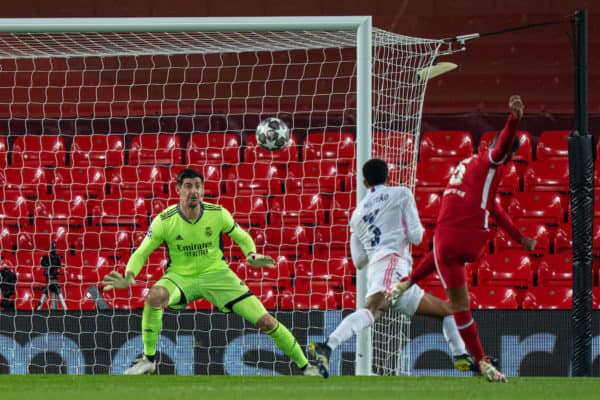 LIVERPOOL, ENGLAND - Wednesday, April 14, 2021: Real Madrid's goalkeeper Thibaut Courtois watches as Liverpool's Georginio Wijnaldum shoots over the bar during the UEFA Champions League Quarter-Final 2nd Leg game between Liverpool FC and Real Madird CF at Anfield. (Pic by David Rawcliffe/Propaganda)