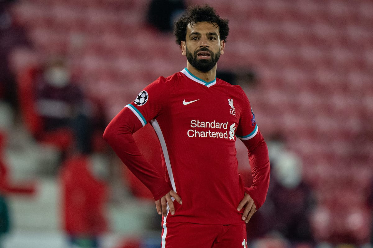 LIVERPOOL, ENGLAND - Wednesday, April 14, 2021: Liverpool's Mohamed Salah looks dejected during the UEFA Champions League Quarter-Final 2nd Leg game between Liverpool FC and Real Madird CF at Anfield. (Pic by David Rawcliffe/Propaganda)