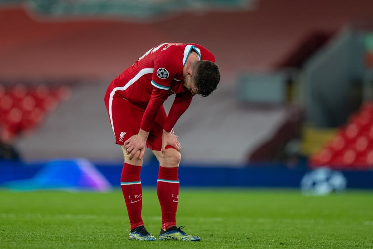 LIVERPOOL, ENGLAND - Wednesday, April 14, 2021: Liverpool's Andy Robertson looks dejected after the UEFA Champions League Quarter-Final 2nd Leg game between Liverpool FC and Real Madird CF at Anfield. The game ended in a goal-less draw, Real Madrid won 3-1 on aggregate. (Pic by David Rawcliffe/Propaganda)