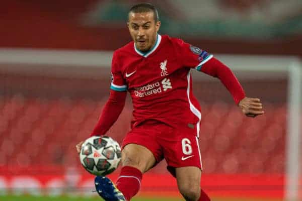 LIVERPOOL, ENGLAND - Wednesday, April 14, 2021: Liverpool's Thiago Alcantara during the UEFA Champions League Quarter-Final 2nd Leg game between Liverpool FC and Real Madird CF at Anfield. The game ended in a goal-less draw, Real Madrid won 3-1 on aggregate. (Pic by David Rawcliffe/Propaganda)