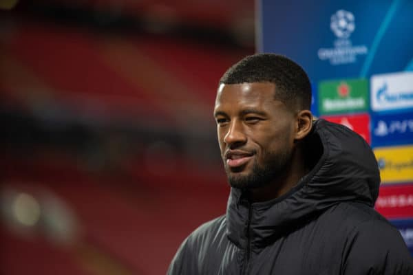LIVERPOOL, ENGLAND - Wednesday, April 14, 2021: Liverpool's Georginio Wijnaldum speaks to LFC.TV after the UEFA Champions League Quarter-Final 2nd Leg game between Liverpool FC and Real Madird CF at Anfield. (Pic by David Rawcliffe/Propaganda)