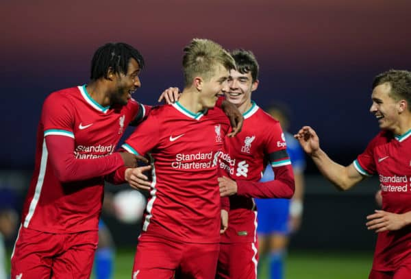 LEICESTER, ENGLAND - Friday, April 16, 2021: Liverpool's Max Woltman celebrates scoring the third goal with team-mates during the FA Youth Cup 5th Round match between Leicester City FC and Liverpool FC at the Leicester City Academy. (Pic by David Rawcliffe/Propaganda)
