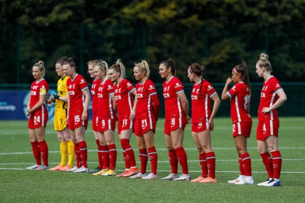 LOUGHBOROUGH, ENGLAND - Sunday, April 18, 2021: Liverpool players line-up before the Women's FA Cup 4th Round match between Leicester City FC Women and Liverpool FC Women at Farley Way Stadium. (Pic by Darren Staples/Propaganda)