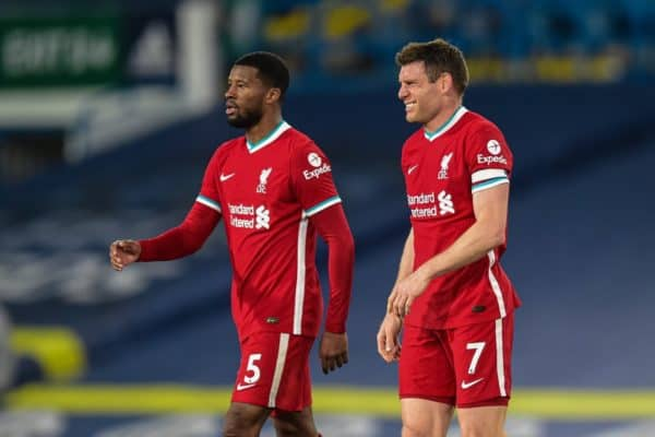 LEEDS, ENGLAND - Monday, April 19, 2021: Liverpool's Georginio Wijnaldum (L) and James Milner after the FA Premier League match between Leeds United FC and Liverpool FC at Elland Road. (Pic by Propaganda)