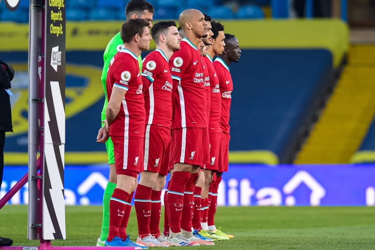 LEEDS, ENGLAND - Monday, April 19, 2021: Liverpool players line-up before the FA Premier League match between Leeds United FC and Liverpool FC at Elland Road. (Pic by Propaganda)