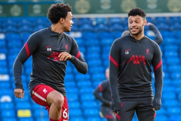 LEEDS, ENGLAND - Monday, April 19, 2021: Liverpool's Alex Oxlade-Chamberlain (R) and Trent Alexander-Arnold (L) during the pre-match warm-up before during the FA Premier League match between Leeds United FC and Liverpool FC at Elland Road. (Pic by Propaganda)
